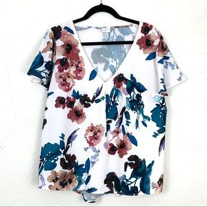 A New Day Floral Short-Sleeved Blouse Top XL